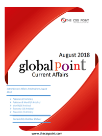 Monthly Global Point Current Affairs August 2018