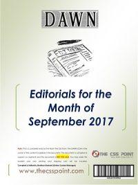 Monthly DAWN Editorials September 2017