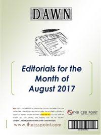 Monthly DAWN Editorials August 2017