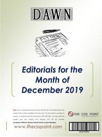 Monthly DAWN Editorials December 2018
