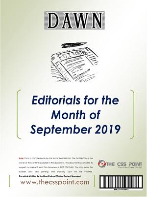 Monthly DAWN Editorials September 2019