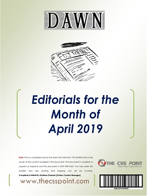 Monthly DAWN Editorials April 2019