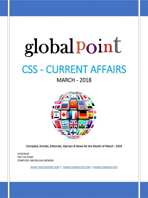 Monthly Global Point Current Affairs March 2018