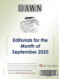 Monthly DAWN Editorials September 2020