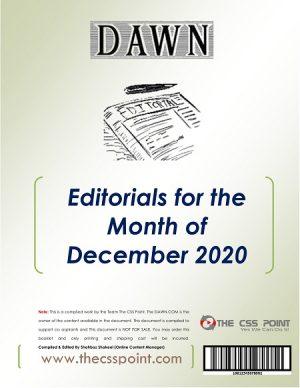 Monthly DAWN Editorials December 2020